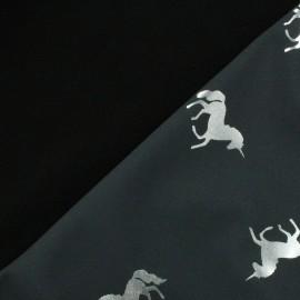 Tissu Softshell Licornes - gris/argent x 10cm