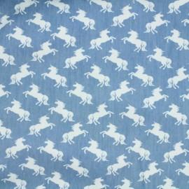 Tissu Jeans léger Licornes - blanc/bleu x 10cm