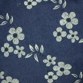 Tissu Jeans léger Floraison - bleu/blanc x 22cm