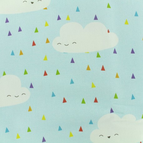 Cotton canvas fabric large width Party of clouds - blue x 31cm