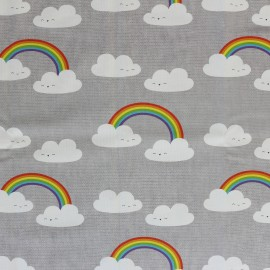 Cotton canvas fabric large width the joy of clouds - grey x 22cm