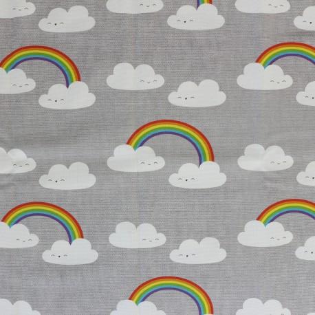 Tissu toile coton grande largeur La joie des nuages - gris x 22cm