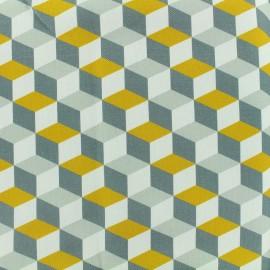 Tissu toile coton grande largeur Cubes Scandinaves - gris/jaune/blanc x 10cm