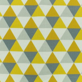 Cotton canvas fabric large width Scandinavian triangles - white/grey/yellow x 10cm