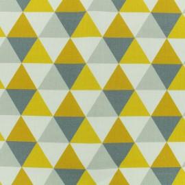 Tissu toile coton grande largeur Triangles scandinaves - gris/jaune/blanc x 10cm