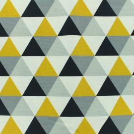 Tissu toile coton grande largeur Triangles scandinaves - gris/jaune/noir/blanc x 10cm