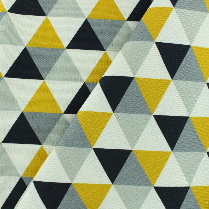 tissu toile coton grande largeur triangles scandinaves gris jaune noir blanc. Black Bedroom Furniture Sets. Home Design Ideas