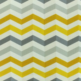 Cotton canvas fabric large width Scandinavian rafters - white/grey/yellow x 10cm