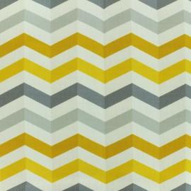 Tissu toile coton grande largeur Chevrons scandinaves - gris/jaune/blanc x 10cm