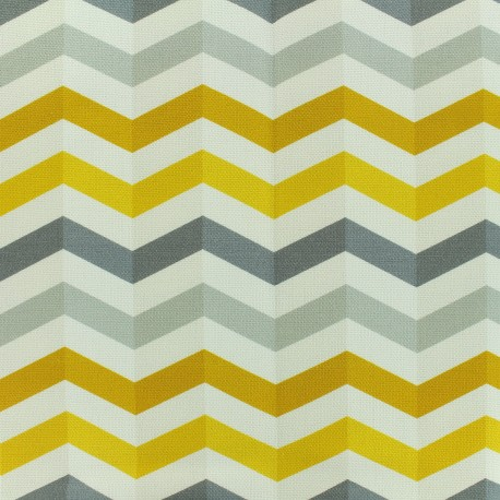 Cotton canvas fabric large width Scandinavian rafters - white/grey/yellow/black x 10cm