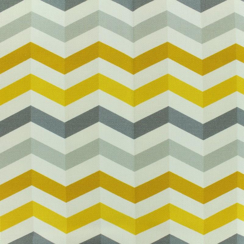 Tissu toile coton grande largeur Chevrons scandinaves - gris/jaune ...