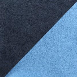 Tissu polaire réversible bicolore - bleuet/bleu nuit x 10cm