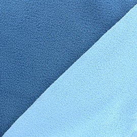 Tissu polaire réversible bicolore - bleuet/bleu ciel x 10cm
