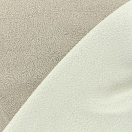 Reversible bicolor polar fabric - white/grege x 10cm