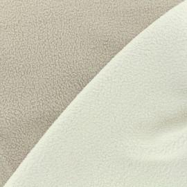 Tissu polaire réversible bicolore - blanc/grège x 10cm