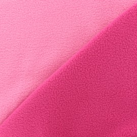 Tissu polaire réversible bicolore - fuchsia/rose x 10cm