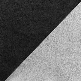 Tissu polaire réversible bicolore - gris souris/noir x 10cm