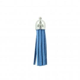 Pompon en Daim - bleu bleuet