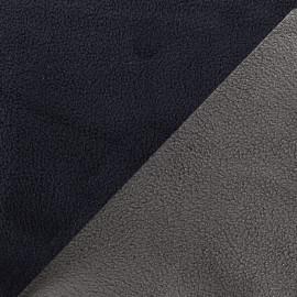 Tissu polaire réversible bicolore - gris/bleu nuit x 10cm