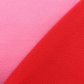 Tissu polaire réversible bicolore - rose/rouge x 10cm