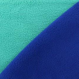 Tissu polaire réversible bicolore - mer du sud/navy x 10cm