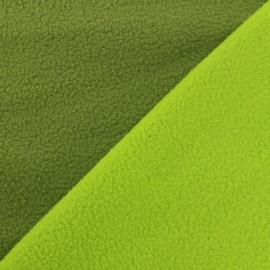 Tissu polaire réversible bicolore - kaki/anis x 10cm