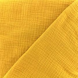 Tissu double gaze de coton MPM - moutarde x 10cm