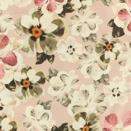 Tissu Viscose fleur rose x 10cm
