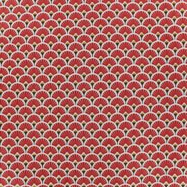Tissu coton crétonne Eventails dorés - rouge x 10cm