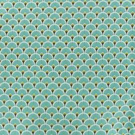 Tissu coton crétonne Eventails dorés - turquoise x 10cm