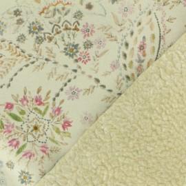 Tissu Suédine fleurie envers mouton x 10cm