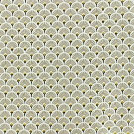 Tissu coton crétonne Eventails dorés - beige x 10cm