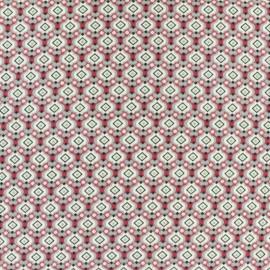 Tissu Polyester Mosaïque rose x 10cm