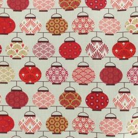 Tissu coton crétonne Lampions - beige/rouge x 10cm