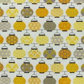 Cretonne cotton Fabric Lampions - yellow x 10cm