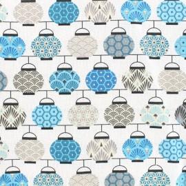 Tissu coton crétonne Lampions - bleu/gris x 10cm