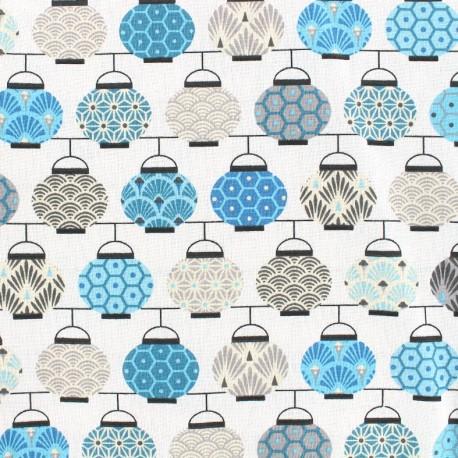 Cretonne cotton Fabric Lampions - blue/grey x 10cm