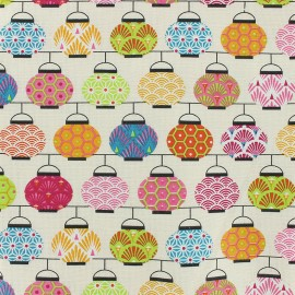 Cretonne cotton Fabric Lampions - pink x 10cm
