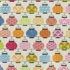 Tissu coton crétonne Lampions - rose x 10cm