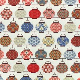 Tissu coton crétonne Lampions - indigo/rouge x 10cm