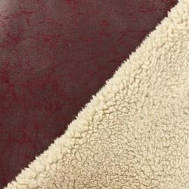 Tissu Mouton envers suédine bordeaux x 10cm