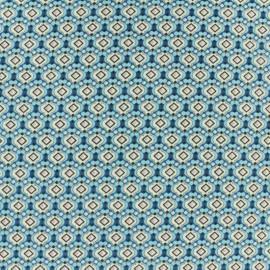 Tissu Polyester Mosaïque Turquoise x 10cm