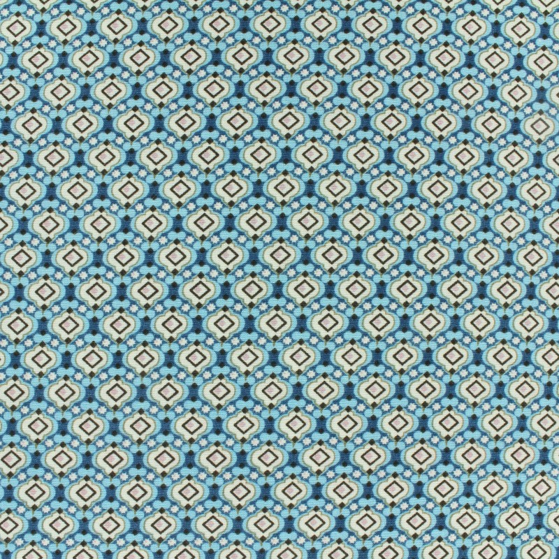 Tissu Polyester Mosaïque Turquoise x 10cm - Ma Petite Mercerie
