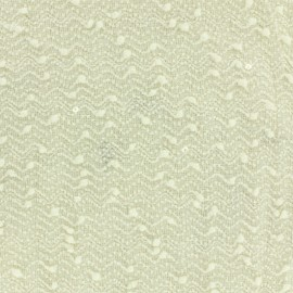 Tissu Maille paillette écrue x 10cm