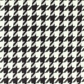 Tissu Lainage pied de poule - noir et blanc x 10 cm