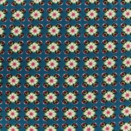 Tissu Stretch fleur turquoise x 10cm