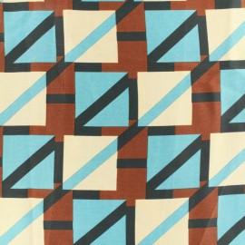 Tissu Satin graphique bleu x 10cm
