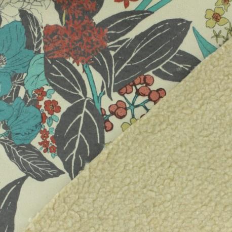 Tissu Suédine fleurie sur mouton x 10cm