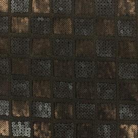 Tissu Carreaux paillettes bronze x 10cm
