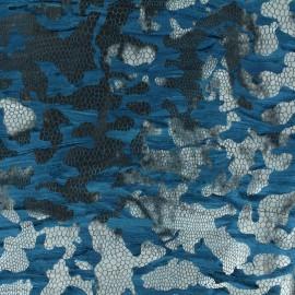 Tissu Velours floqué paon x 10cm